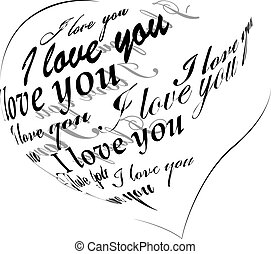 """Black heart made of """"I love you"""" phrase"""