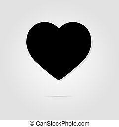 Black heart on a gray background with shadow