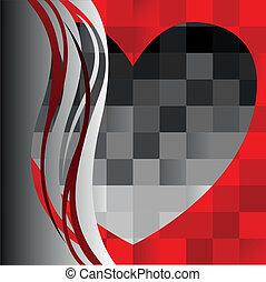 black heart on the asymmetric backg