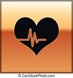 Black Heart rate icon isolated on gold background. Heartbeat sign. Heart pulse icon. Cardiogram icon. Vector Illustration