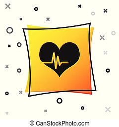 Black Heart rate icon isolated on white background. Heartbeat sign. Heart pulse icon. Cardiogram icon. Yellow square button. Vector Illustration
