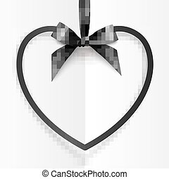 Black heart shape frame hanging on silky ribbon with bow at white folded background