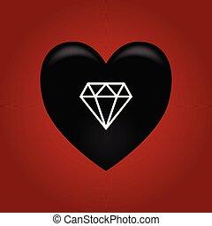 Black heart with diamond