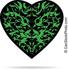 black heart with green pattern and shadow