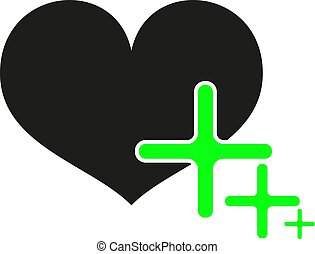 Black heart with green plus on white background. Vector eps10