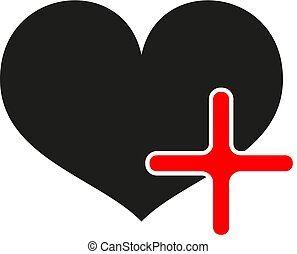 Black heart with red plus on white background. Vector eps10
