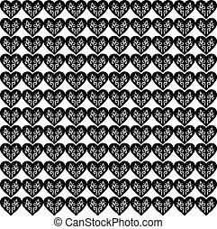 Black hearts, illustration, vector on white background.