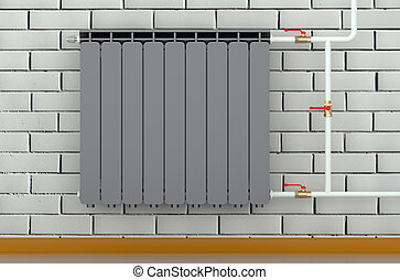 black heating radiator in a room