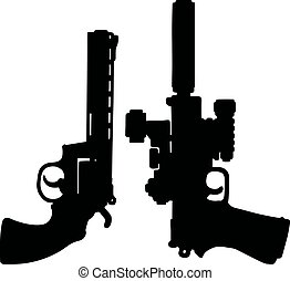 Black heavy handguns