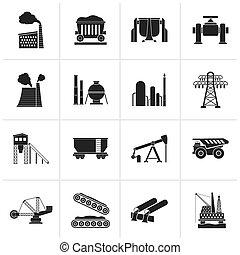 Black Heavy industry icons - vector icon set