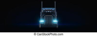 Black heavy truck. 3d rendering