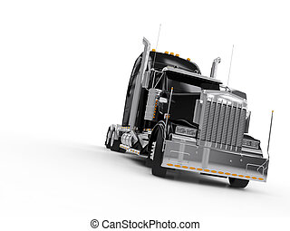 Black heavy truck isolated on white background