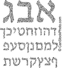 Black Hebrew alphabet of circles. Font. Vector illustration on isolated background