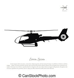Black helicopter silhouette on a white background. Side view