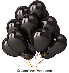 Black balloons with strong reflections. Beautiful darkness stylized party decoration. Stress emotions concept. Prank and joke theme. This is a detailed 3D render (Hi-Res). Isolated on white background