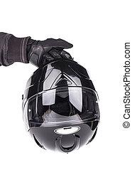 Black helmet on white background