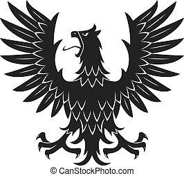 Black heraldic eagle in aggressive posture icon