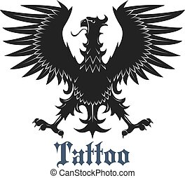 Black heraldic eagle with outstretched wings