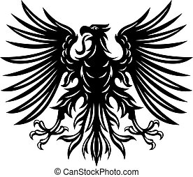 Black heraldic eagles for heraldry or tattoo design isolated...