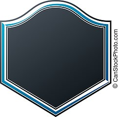 Black heraldic frame with copy-space, vector vintage protection shield emblem.