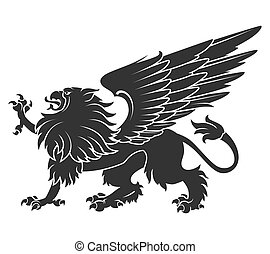 Black Heraldic Griffin01 - Black Griffin For Heraldry Or ...