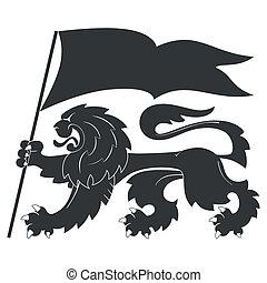 heraldic lion with flag