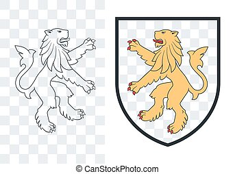 Black heraldic rampant lion on the white background. Vector outline illustration