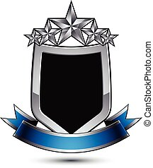 Black heraldic vector security element with gray outline and five pentagonal silver stars, silvery 3d royal geometric blazon with blue curvy band, classic blazon isolated on white background.