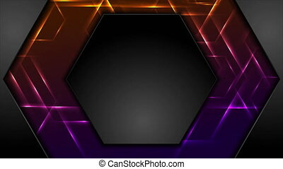 Black hexagon abstract tech motion background with glowing lights