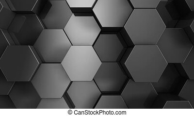 Black hexagon background. 3D render