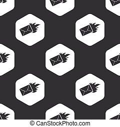 Black hexagon burning letter pattern