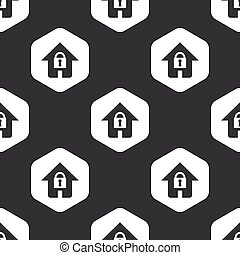 Black hexagon locked house pattern