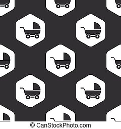 Black hexagon pram pattern