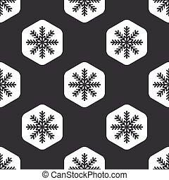Black hexagon snowflake pattern