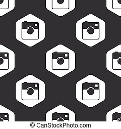 Black hexagon square camera pattern
