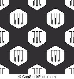 Black hexagon test-tubes pattern