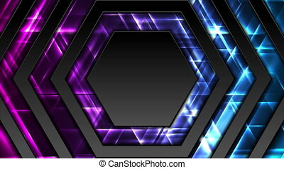 Black hexagons abstract tech motion design with glowing lights