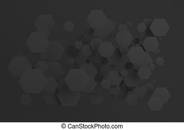 Black hexagons of random size on black background. Abstract ...