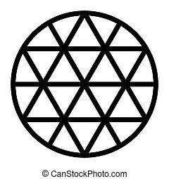 Black hexagram grid formed by lines in a circle