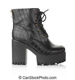Black high heel crocodile boot