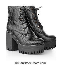 Black high heel crocodile woman boots
