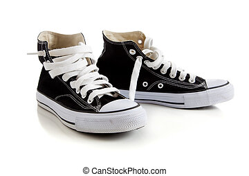 Black high top sneakers on white - Black canvas high top...