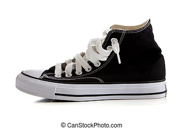 Black high top sneakers on white