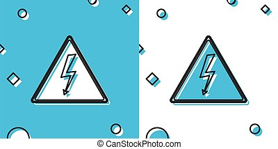 Black High voltage sign icon isolated on blue and white background. Danger symbol. Arrow in triangle. Warning icon. Random dynamic shapes. Vector Illustration