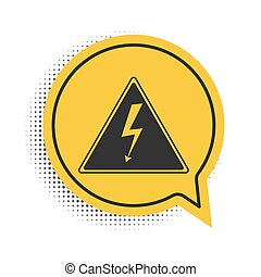 Black High voltage sign icon isolated on white background. Danger symbol. Arrow in triangle. Warning icon. Yellow speech bubble symbol. Vector