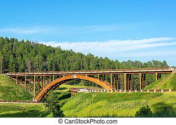 Highway overpass in the Black Hills in South Dakota