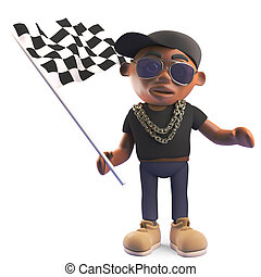 Black hiphop rapper waving the checkered flag, 3d...