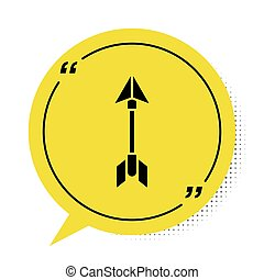 Black Hipster arrow icon isolated on white background. Yellow speech bubble symbol. Vector Illustration