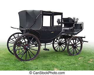historic carriage - black historic carriage on green grass,...