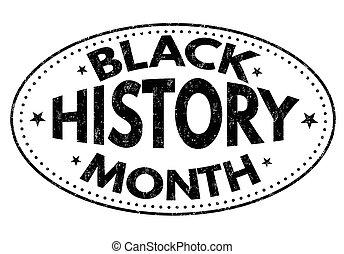 Black history month grunge rubber stamp on white background, vector illustration